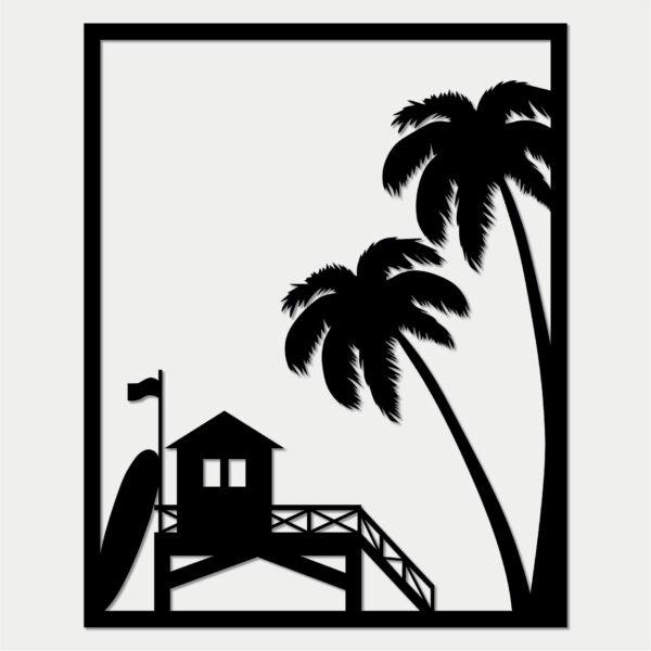 Tableau California en bois décoration murale sapin noir