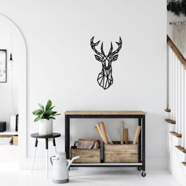tableau tête de cerf noir en bois | Sapin Noir